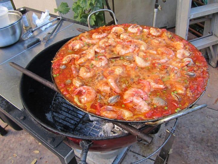 Paella ready to serve