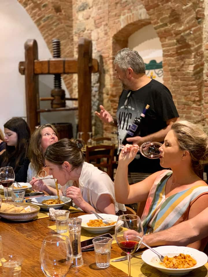 Tasting wine and eating good food