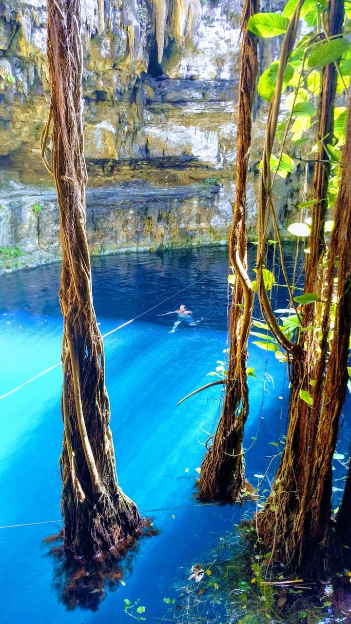 Refreshing dip in cenote