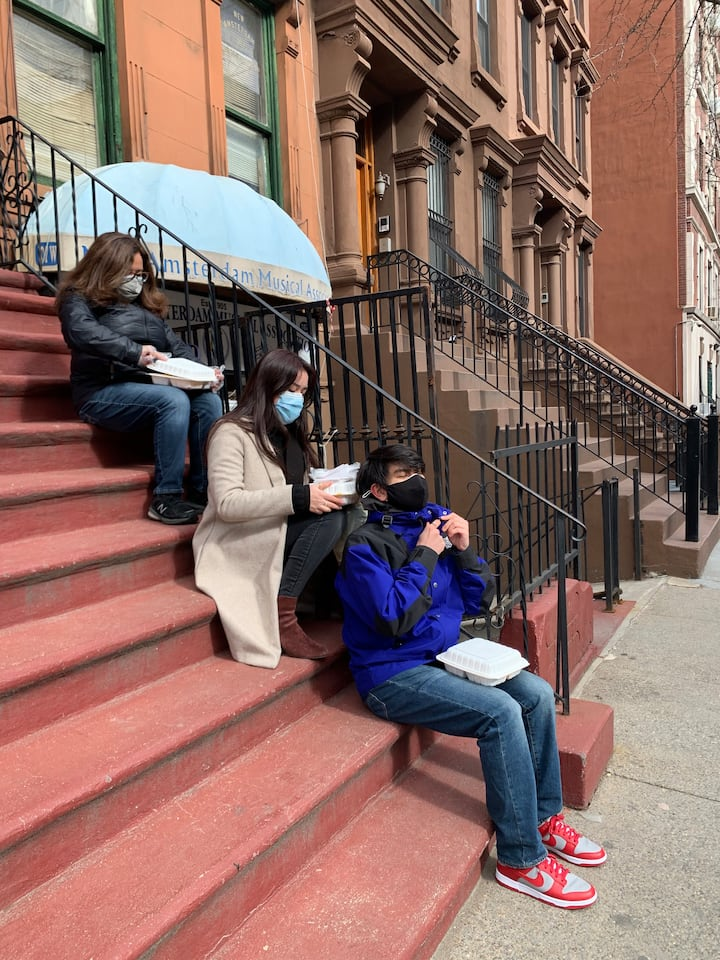City living: Soul food on the stoop.
