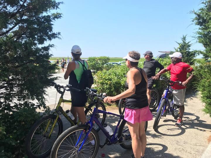 Guests exploring  Pilgrims' Landing Park