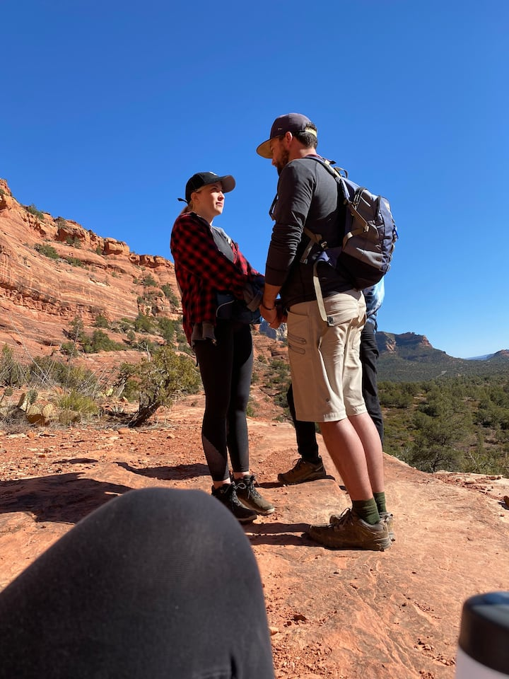 A couple connecting at the red rocks!