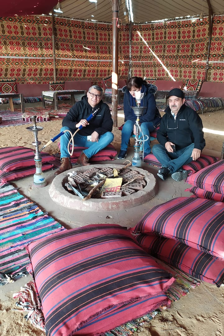 SMOKING SHISHA WITH BREAKFAST EGYPTIAN FOODAND teabefore starting theSAFARY ATVQUAD BIKE INDISRET OFPYRAMIDS JUSTWITH