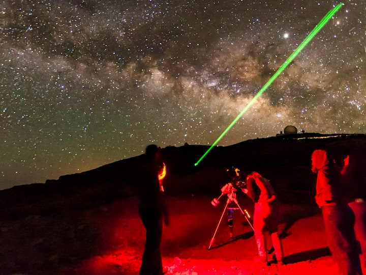 Laser guiding and telescope