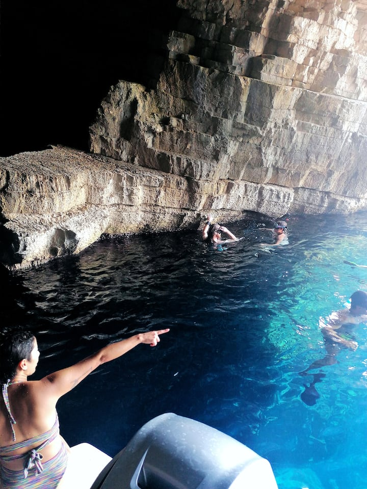 Swimming in the secret cave