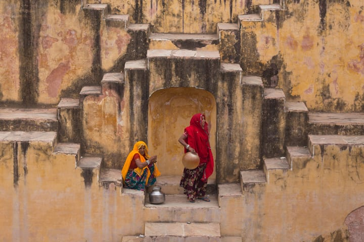 Ladies at Stepwell in Amber Town