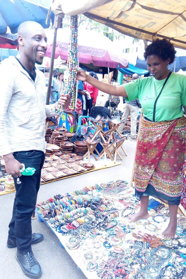 Happy shopper assessing the merchandise