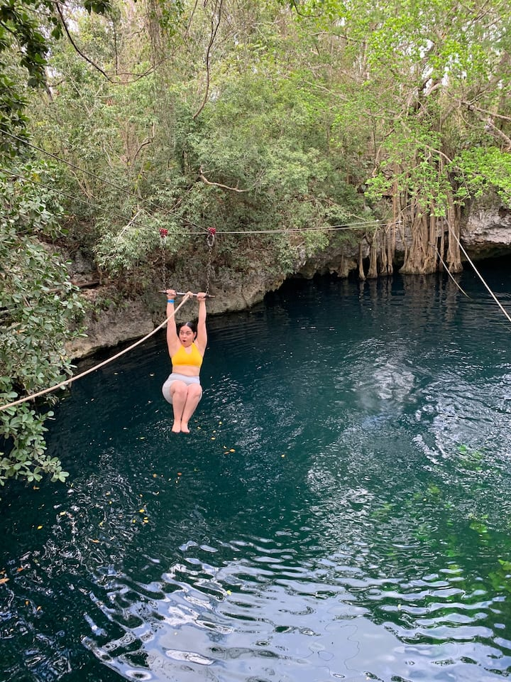 Unlimited Zipline jumps into the Cenote