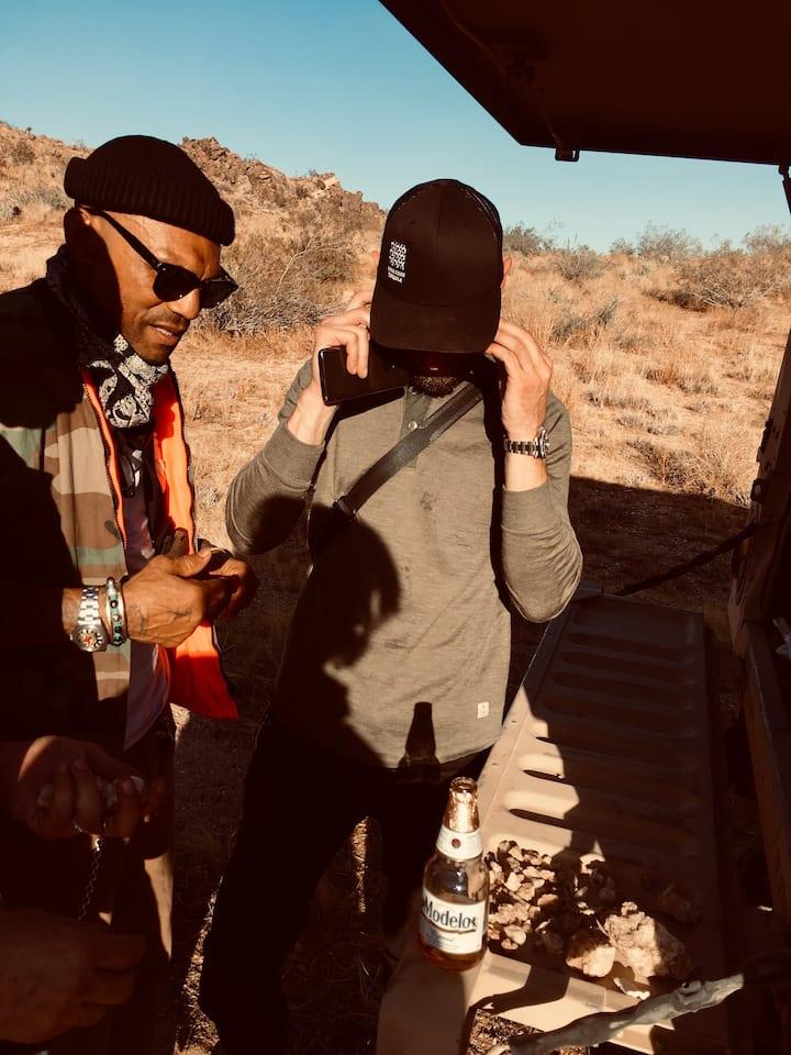 Examining rocks.