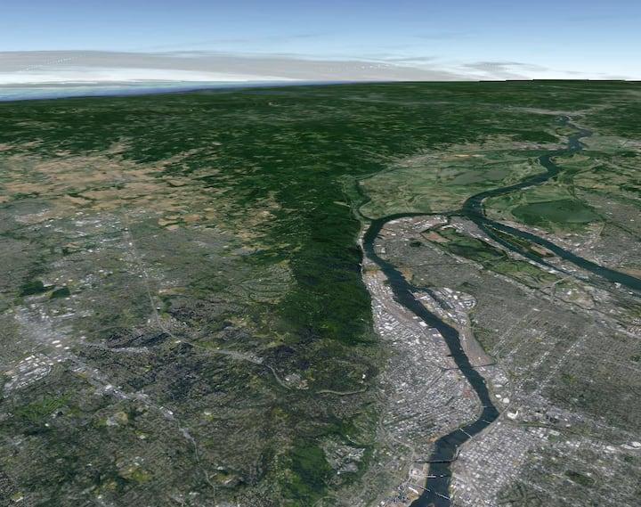 Satellite view of the massive wilderness
