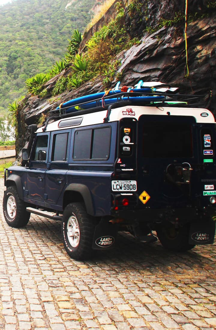 On a Classic Land Rover Defender