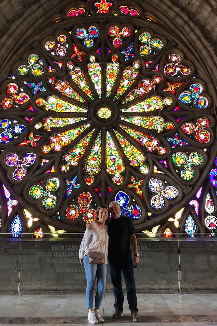 Colorful stained glass at Basílica