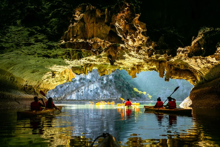 Kayaking at Dark and  Bright cave