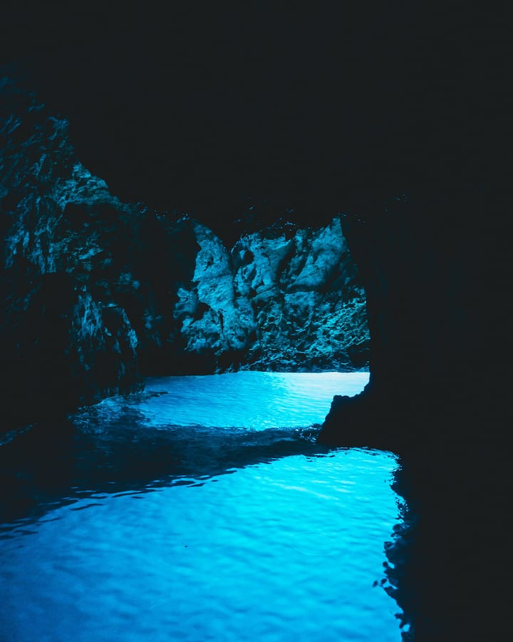 Stunning view inside the Blue Cave