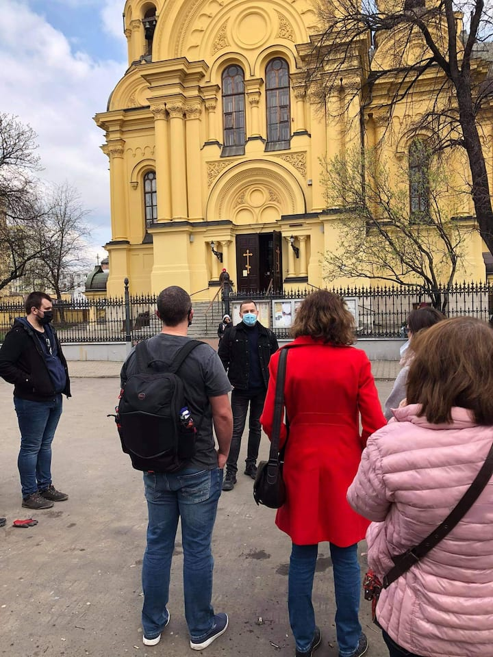 In front of a Christian Orthodox church