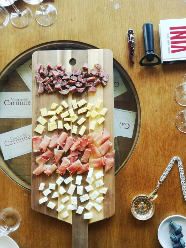 Selection of local cheeses and meats