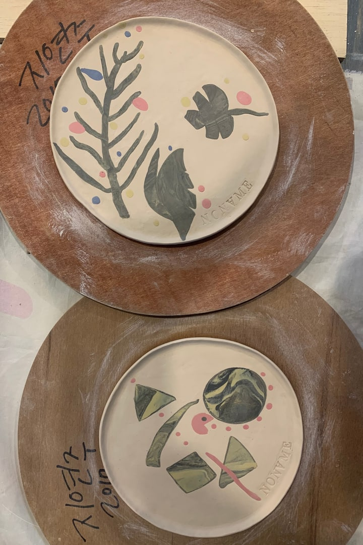 색소지를 이용한 접시성형 작업