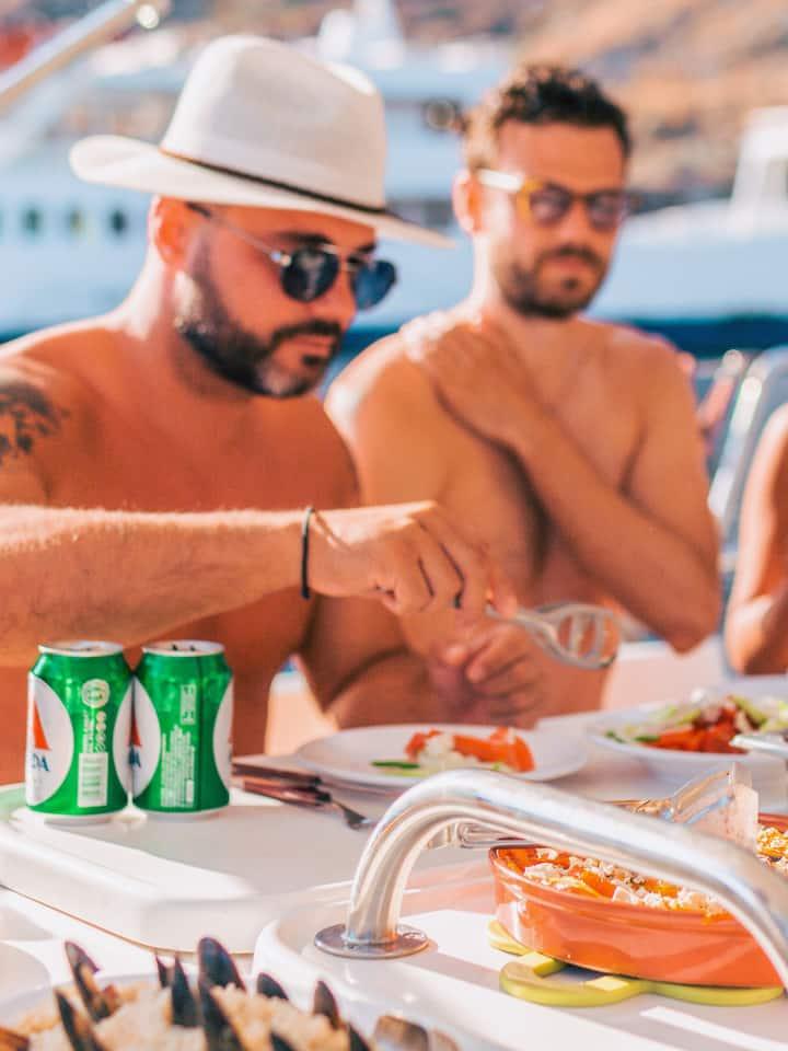 Sea food lunch on board