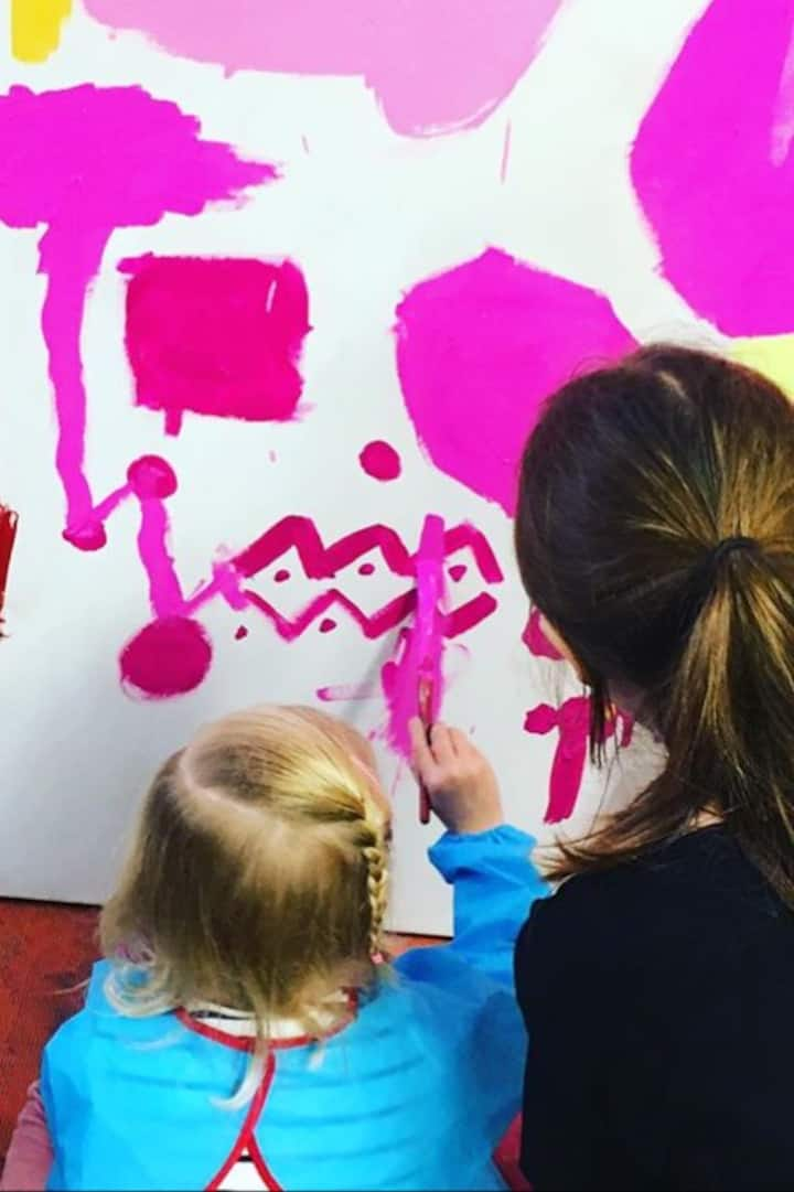 Painting a neon canvas together