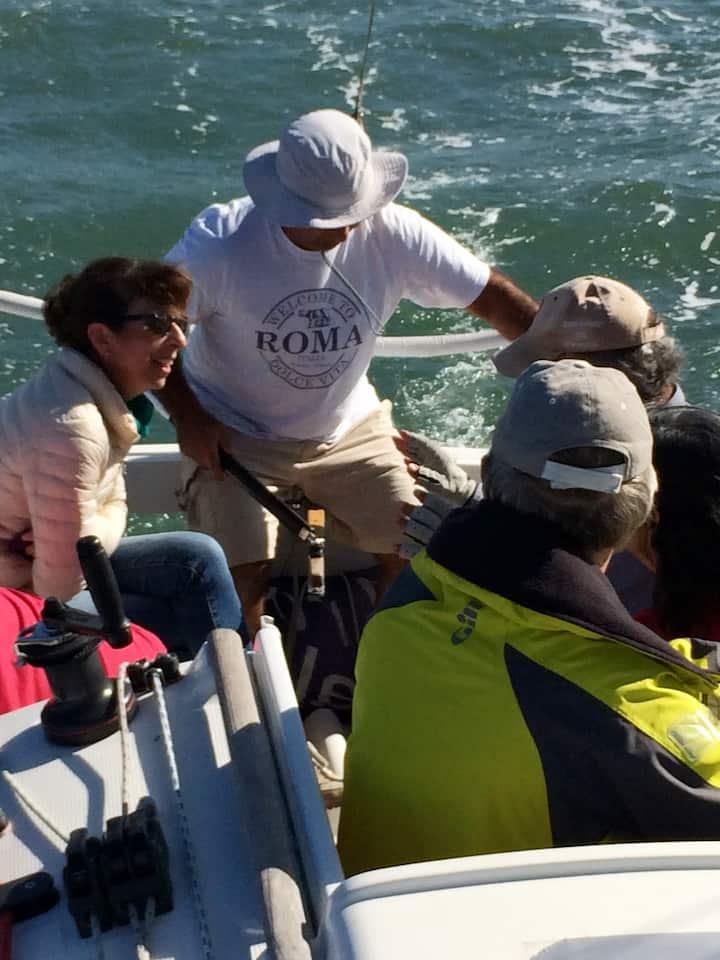 A manobrar o  barco
