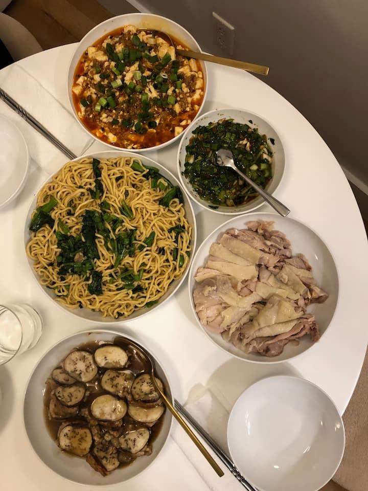 MaPo Tofu, Noodles, Eggplant, Chicken