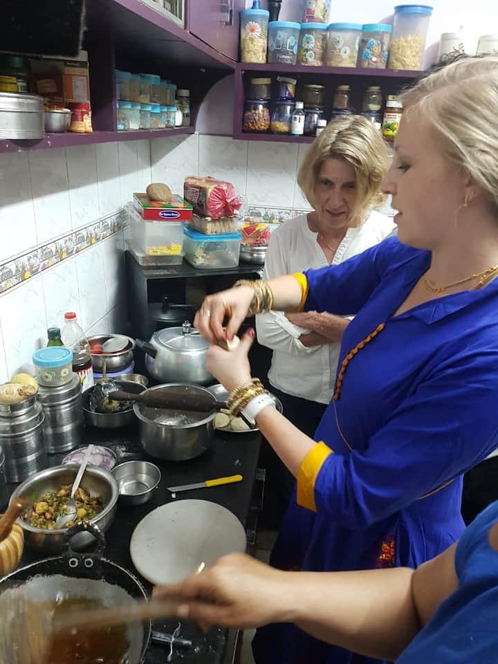 Filling the samosas