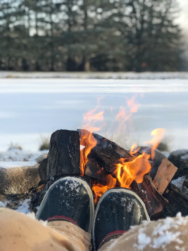 warm up by the fire