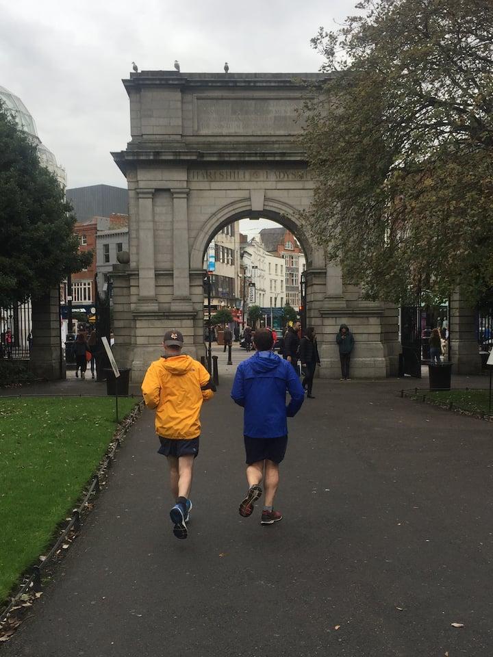 Running through Stephens Green Park