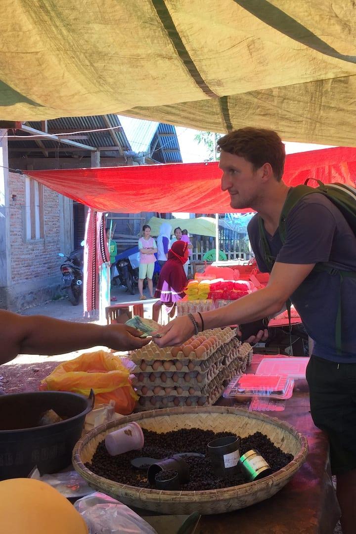 Visiting local market