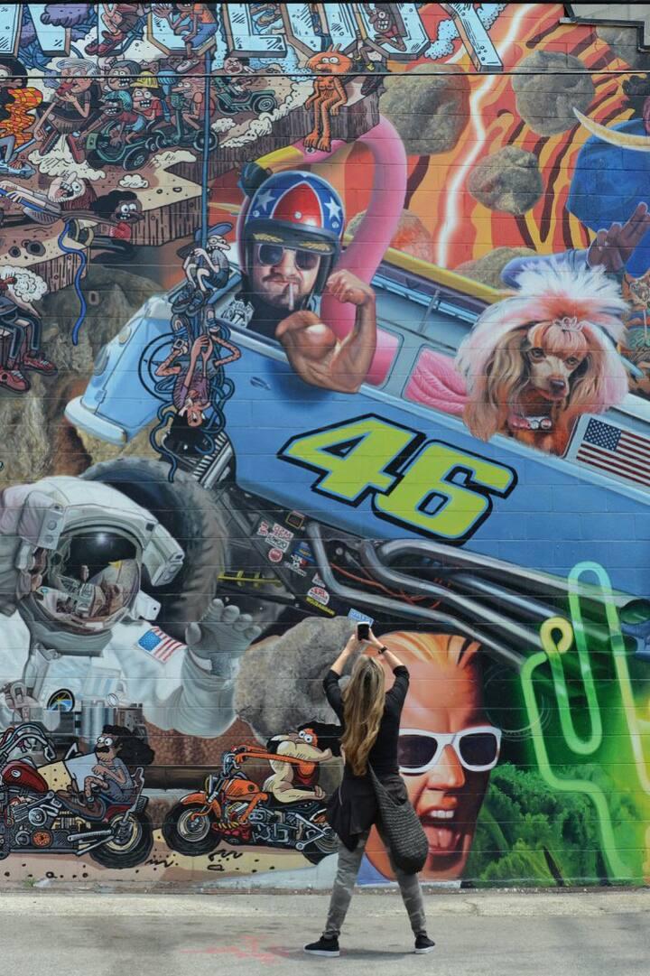 Hugh Wall Mural celebrating Pop Culture