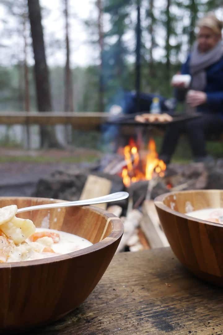 Fish soup near the fire...