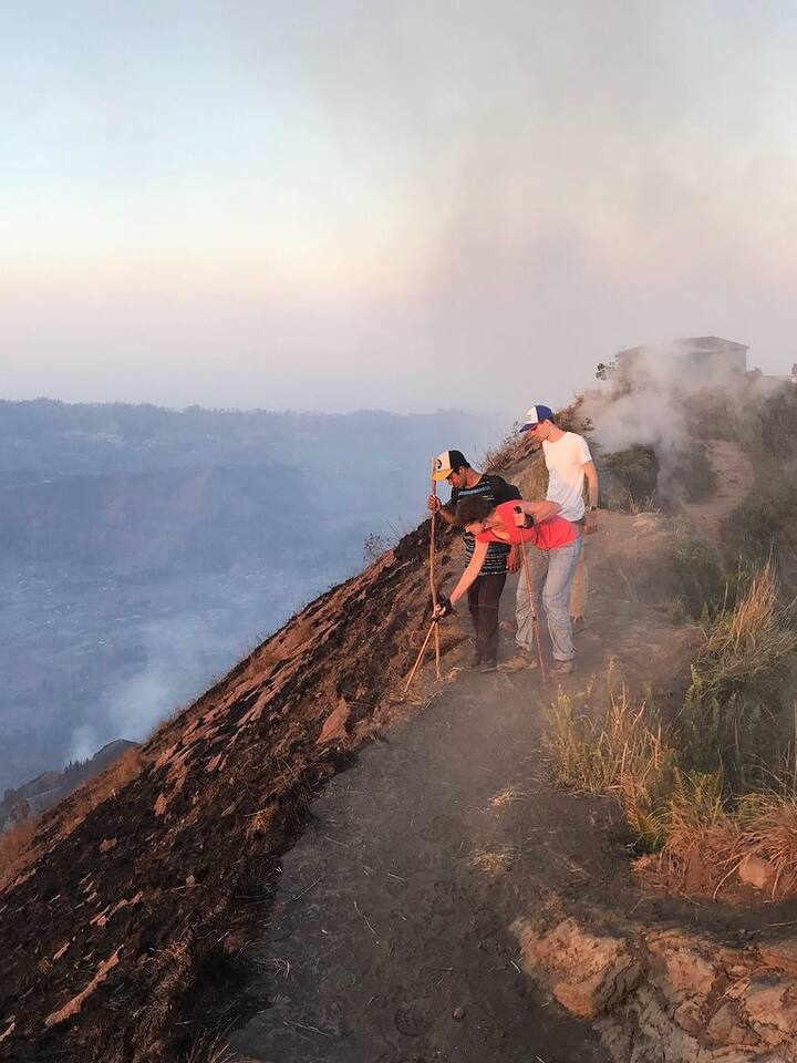 Walk through the crater to see the lava