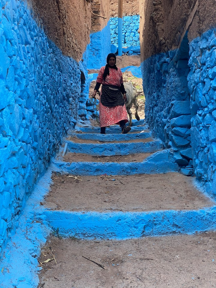 Blue town in the mountain