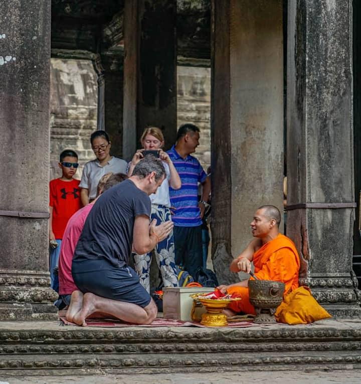 Monk blessing at Angkor Wat
