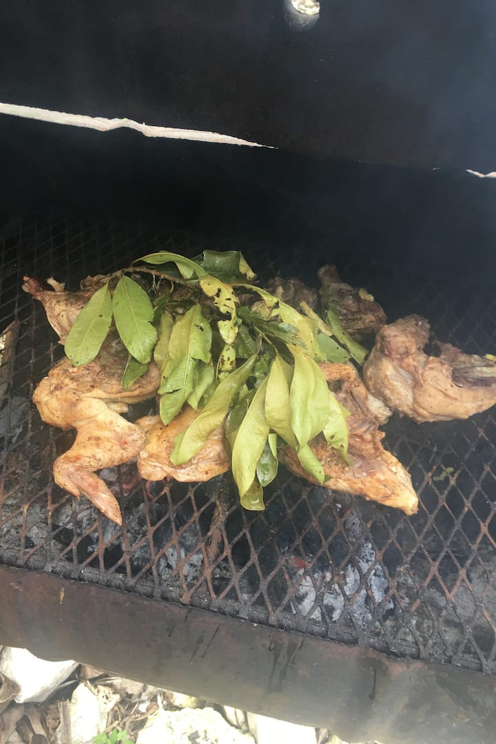 Organic Jerk Chicken with pimento leaves