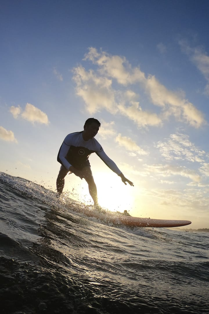 Surfing sunset time very good
