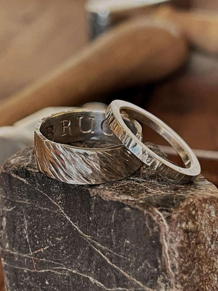 A finished set of rings