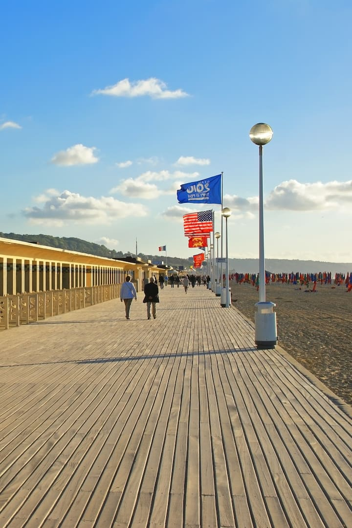 """Deauville Beach with """"Les Planches"""""""