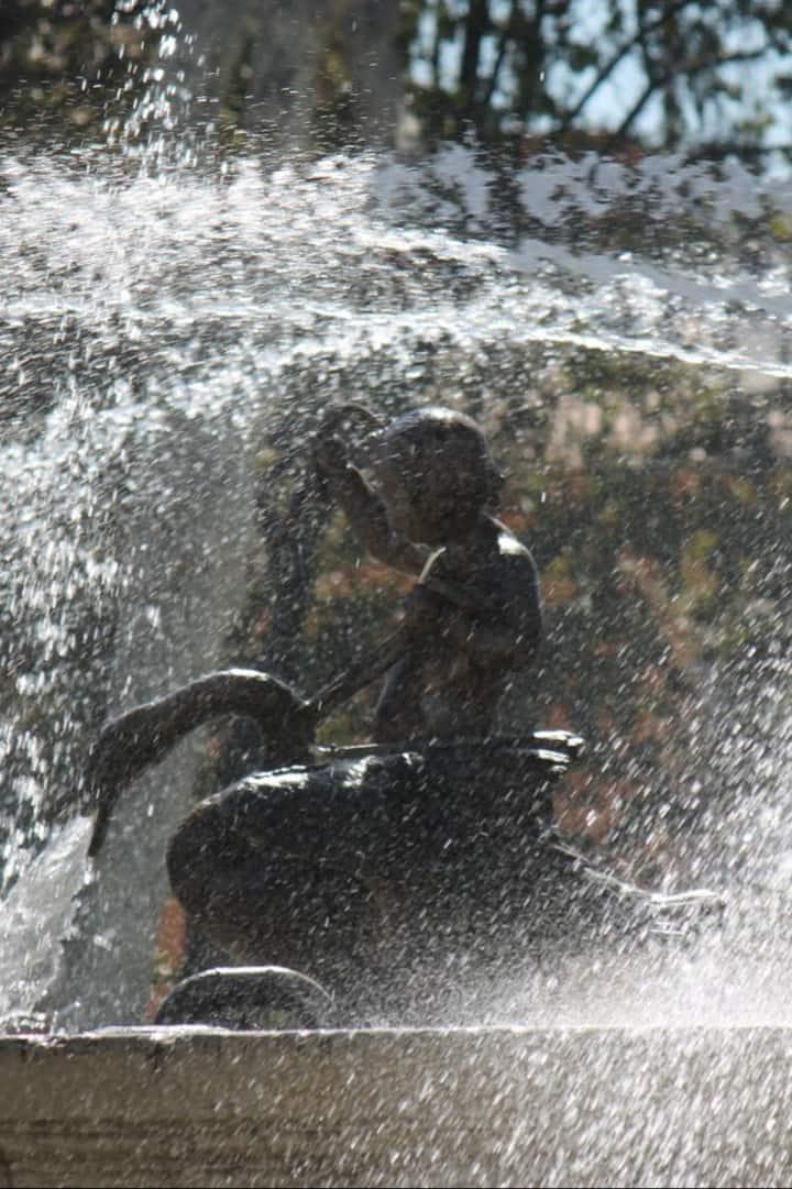 Tumbling waters of an Aix Fountain