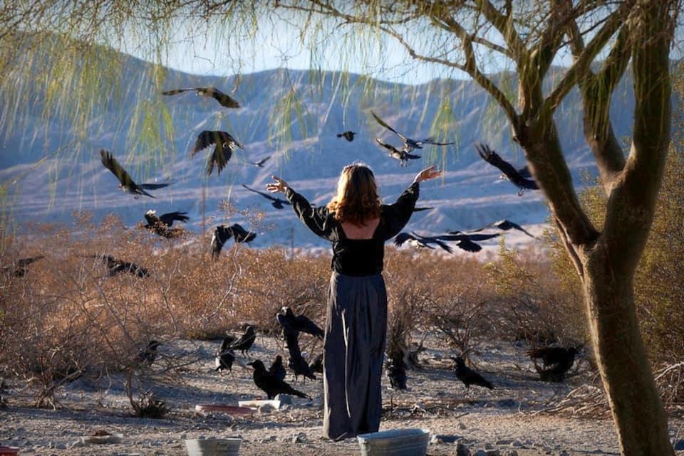 Woman raising hands and summoning ravens