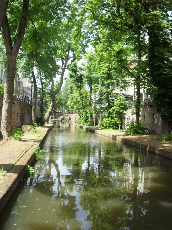 The beautiful quiet New Canal in Utrecht
