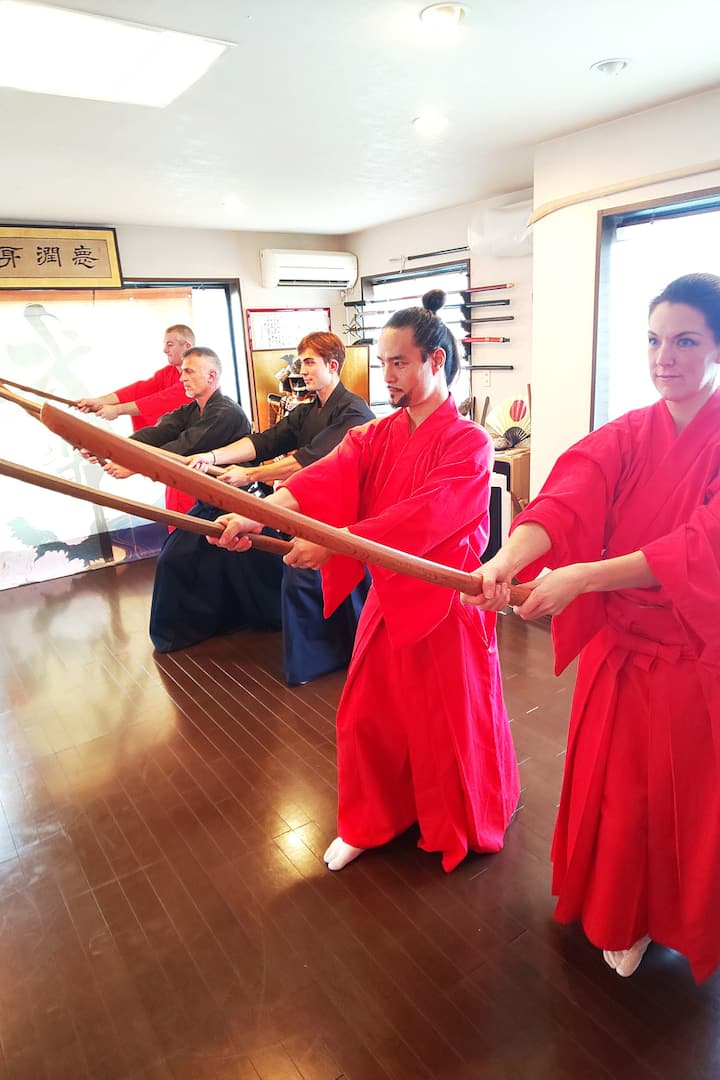 Martial arts lesson of sword & naginata