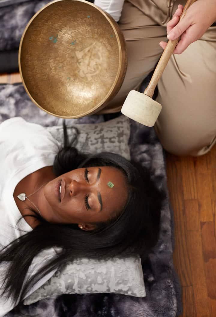 Tibetan singing bowls all around