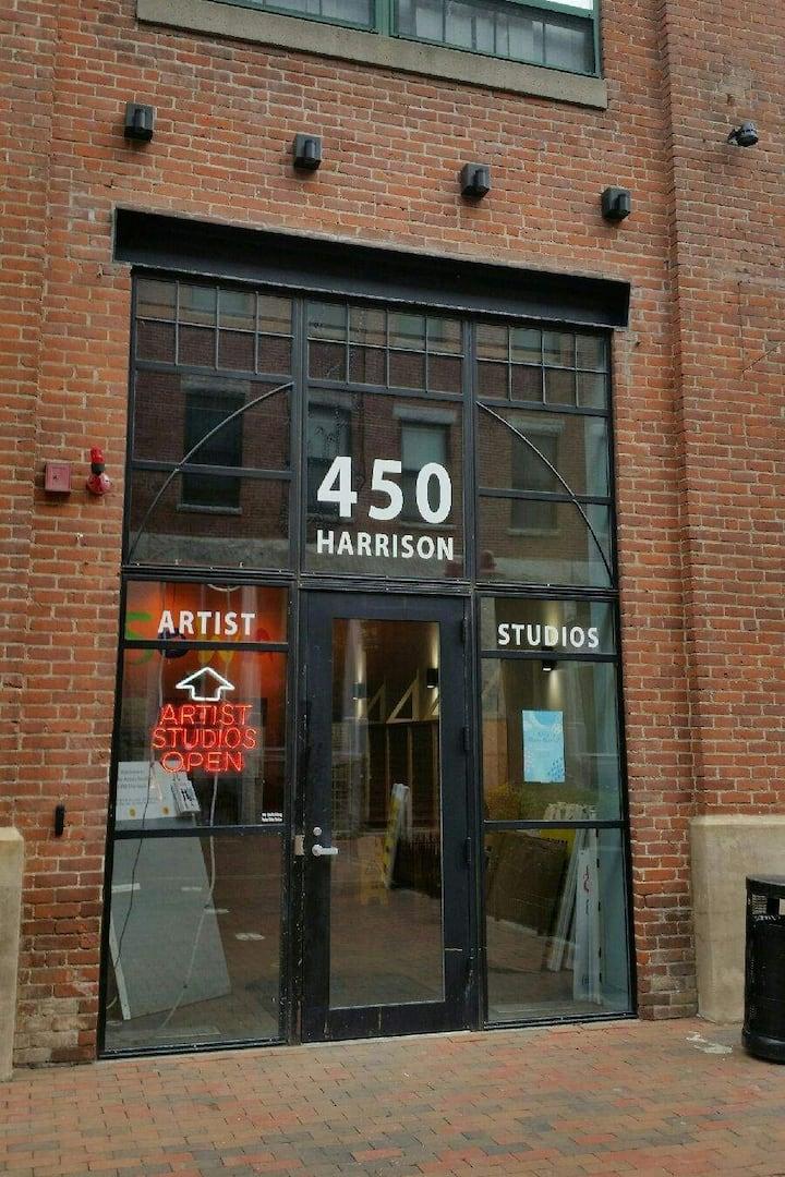 front door to studio building