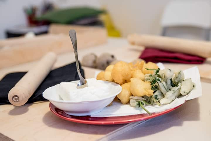 fried coccoli and sage leaves