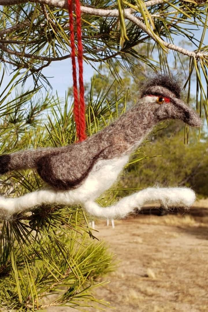 Needle Felted Roadrunner Ornament