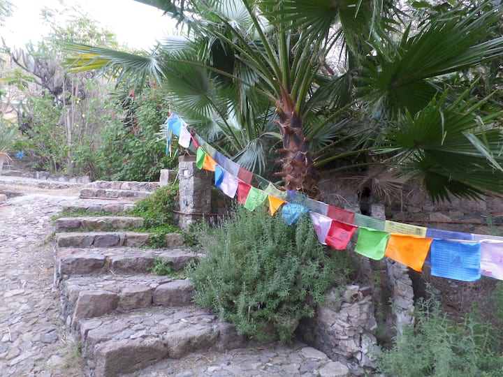 Follow the prayer flags to the studio
