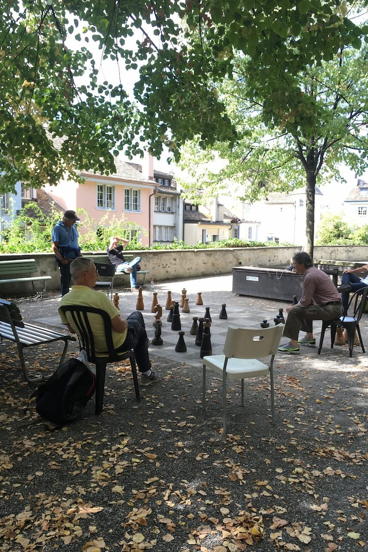 Locals playing chess on Lindenhof