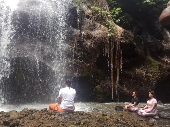 Meditate under the  waterfall  splash