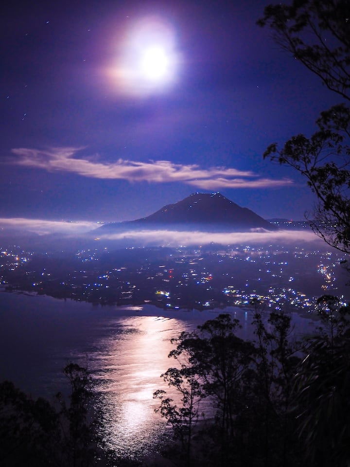 The view of Mount Batur from the hill.